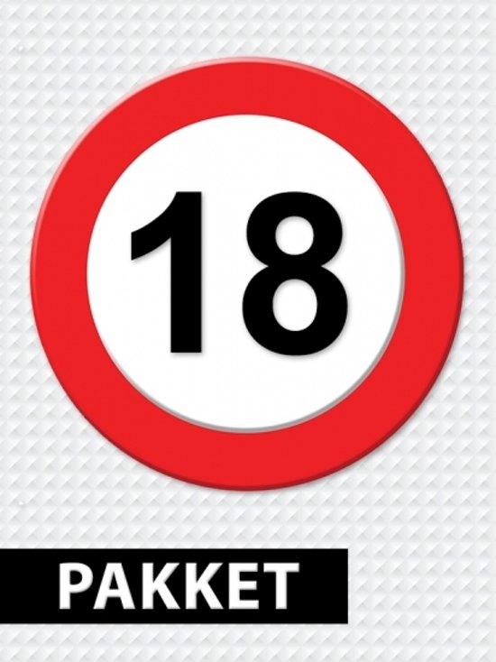 Verkeersbord 18 jaar feestartikelen pakket in Lekermeer