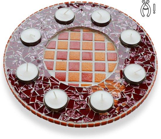 Mozaiek pakket Waxinelichthouder Qringle oranje-rood in Meulebeke