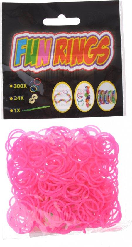 Amigo Fun Rings Armband Vlechten Roze 325-delig in Langereit