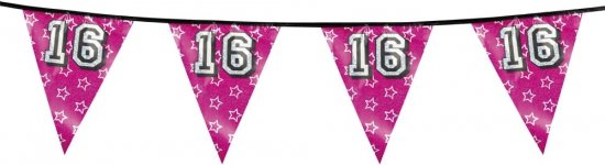 Sweet 16 vlaggenlijn glitter in Vreren