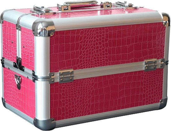 croco roze rood koffer beautycase. Black Bedroom Furniture Sets. Home Design Ideas