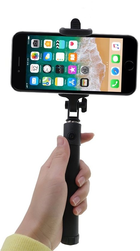 shop4 iphone 6 6s selfie stick bluetooth zwart elektronica. Black Bedroom Furniture Sets. Home Design Ideas