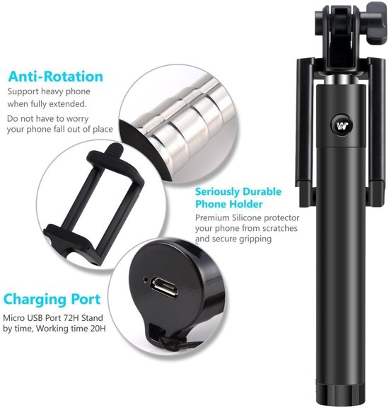 mini foldable bluetooth selfie stick met knop in het handvat voor uw iphone. Black Bedroom Furniture Sets. Home Design Ideas