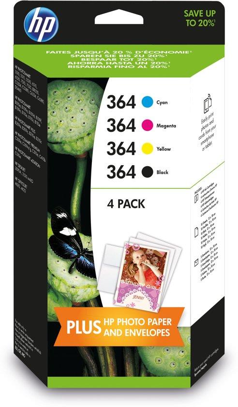 HP 364 - Inktcartridge / Zwart / Cyaan / Magenta / Geel (J3M82AE)