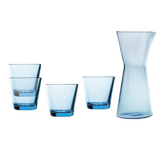 Iittala Karaf + 4 Glazen - Lichtblauw