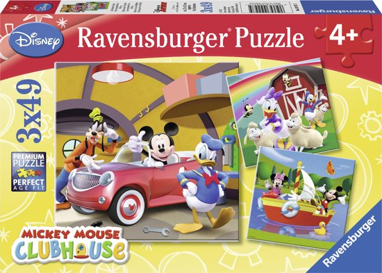 Ravensburger Disney Mickey Mouse: Iedereen houdt van Mickey - Drie puzzels van 49 stukjes in Frameries