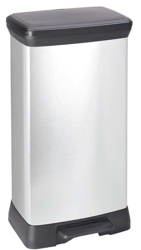 Curver Decobin Pedaalemmer - 50 l - Zilver Metallic