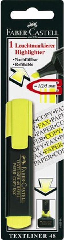 tekstmarker Faber Castell 48 geel op blister in Winkel