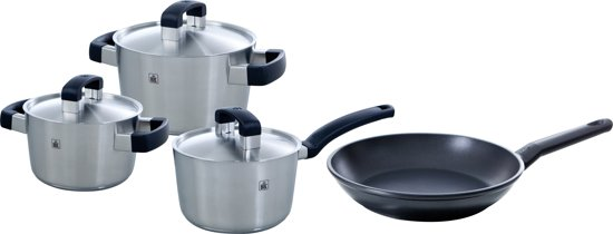 BK Conical Cool Kookpannenset +  BK Easy Induction Koekenpan - 4-delig - RVS