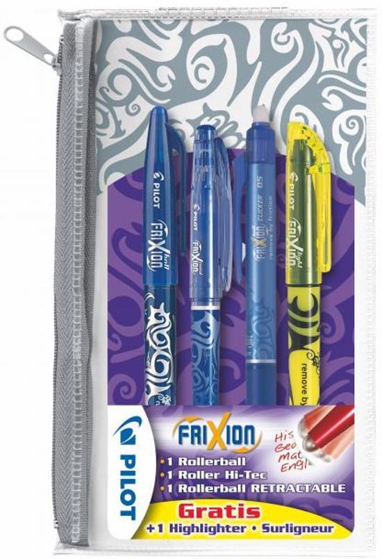 Frixion set van 4: blauw, blauw hi-tec, blauw clicker en geel markeerstift in Lang Hout