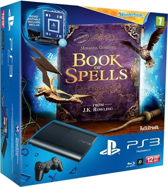 Sony PlayStation 3 Console 12GB Super Slim + 1 Wireless Dualshock 3 Controller + Sony PlayStation Move Starterpack + Wonderbook + Book Of Spells - Zwart PS3 Bundel