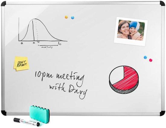 Whiteboard - 60x90cm - Wit - Inclusief ophangsysteem, stiften en wisser in Hogne