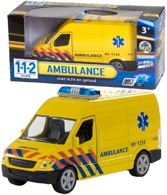 112 Pull-Back Ambulance met Licht en Geluid 1:43 in Bagimont