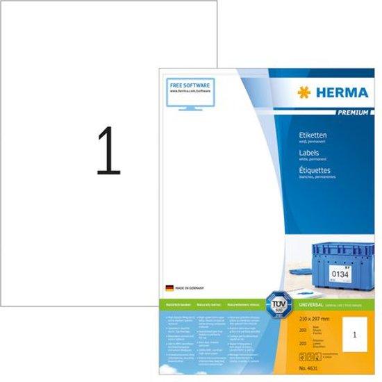 Herma printeretiketten Labels white 210x297 SuperPrint 200 pcs.