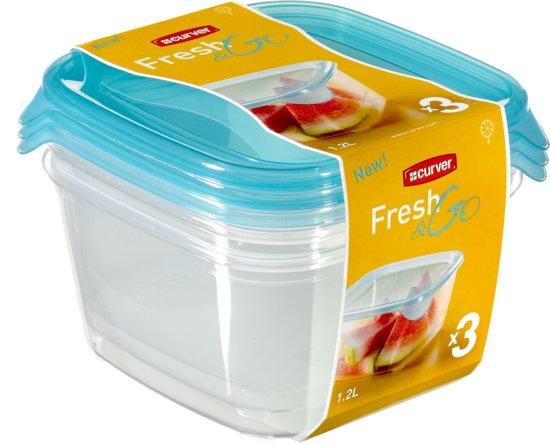 Curver Set Fresh&Go Vershouddozen - Kunststof - Vierkant - Transparant / Blauw - 3 stuks