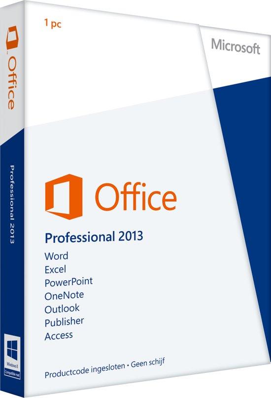 Microsoft Office Professional 2013 - Engels / 32-bit/64-bit / 1 Licentie / Eurozone Medialess
