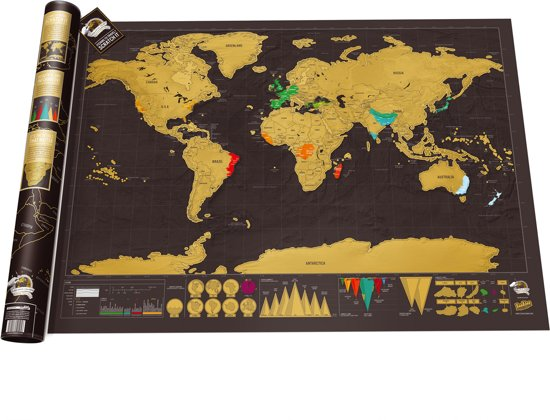 luckies kras wereldkaart scratch map deluxe gizzys. Black Bedroom Furniture Sets. Home Design Ideas