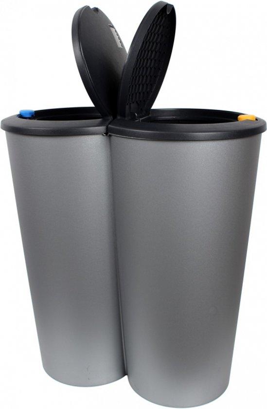 prullenbak duo am 2x 25 l 53 x 50 x 30cm container grijs deksel antraciet. Black Bedroom Furniture Sets. Home Design Ideas