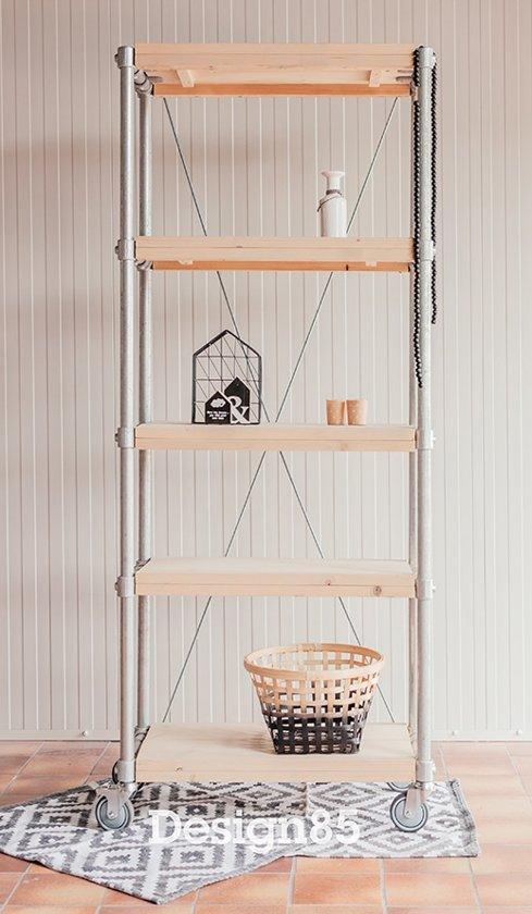 Design85 wand kast steigerbuis steigerhout - Planken maken in een kast ...