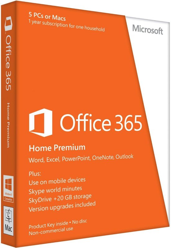 Microsoft Office 365 Home Premium - Engels / 32-bit/64-bit / 1 Licentie / 1 Jaar / Eurozone Medialess