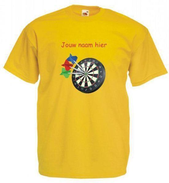 Mijncadeautje oker geel T-shirt Dartbord met voornaam maat M in Lisse