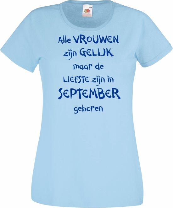 Mijncadeautje - T-shirt - blauw - maat XL -Alle vrouwen zijn gelijk - september in Merselo