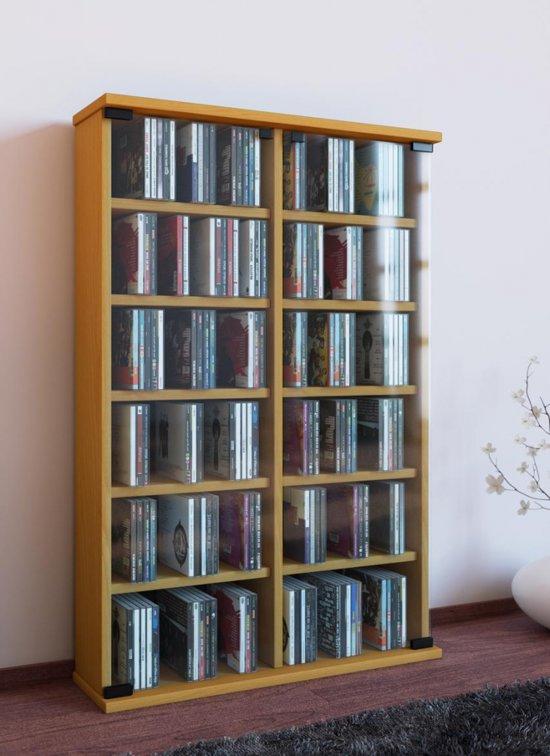 Cd dvd rek kast roma met glasdeuren beuken for Boeken opbergsysteem
