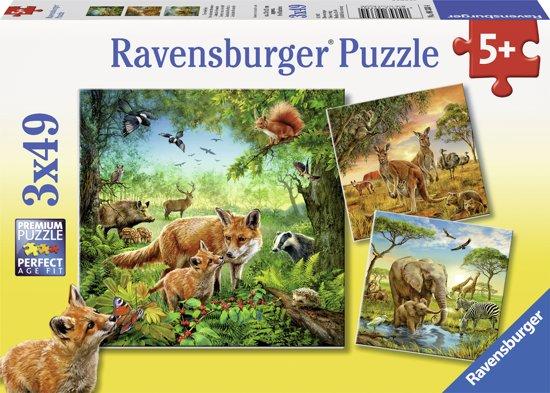 Ravensburger Dieren van de wereld - Drie puzzels van 49 stukjes in De Boberden