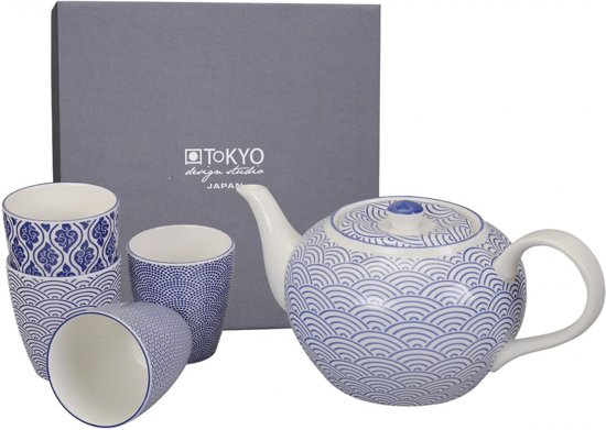 tokyo design studio theepot nippon blue 1 2 l incl 4 mokken. Black Bedroom Furniture Sets. Home Design Ideas