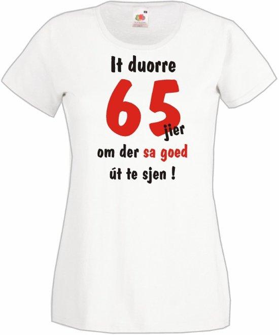 Mijncadeautje Frysl�n T-shirt It duorre 65 jier Dames WIT (maat S) in Beho