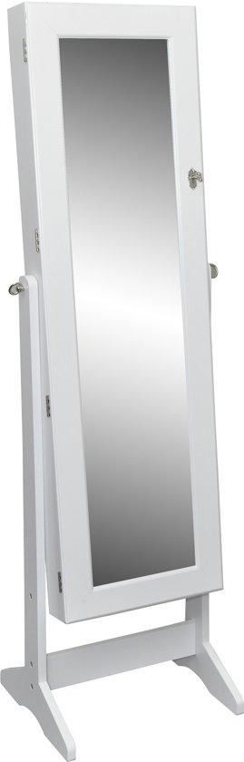 Vidaxl sieradenkast passpiegel wit for Staande spiegel hout