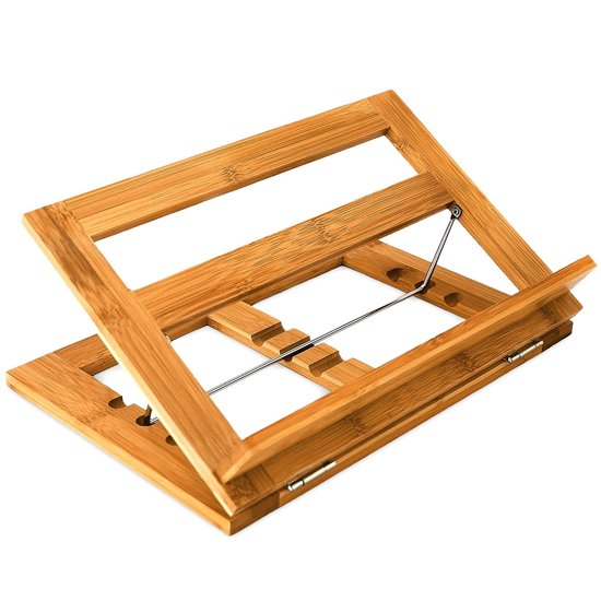 Relaxdays boekenstandaard boekensteun bamboe hout 3 standen steun standaard boek - Leggio per libri da tavolo ...