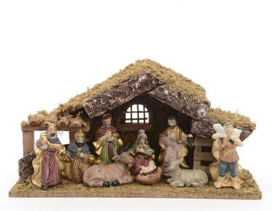 Hhcp kerststal 38x12 5x20 porselein en hout - Creche de noel a vendre ...