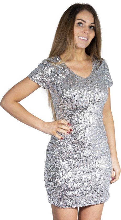 Toppers pailletten jurkje zilver L/XL in Vilvoorde