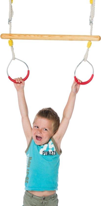 Déko-Play trapeze  van essen hout behandeld met lijnzaadolie met metalen ringen met kunststof rood PH 2.5m in Linden
