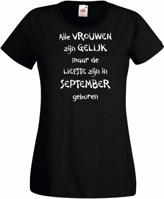 Mijncadeautje - T-shirt - zwart - maat L - Alle vrouwen zijn gelijk - september in Zaamslagveer