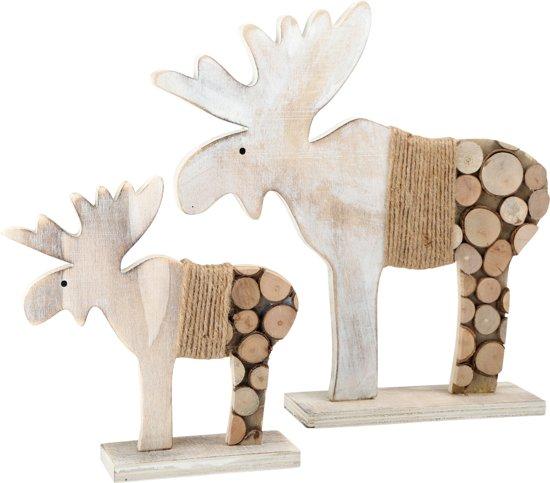 Houten rendieren decoratie van boomschijven for Boomschijven decoratie