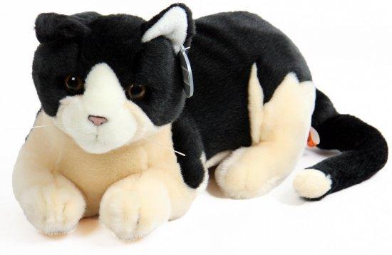 Pluche knuffel kat zwart wit 30 cm in Zweekhorst