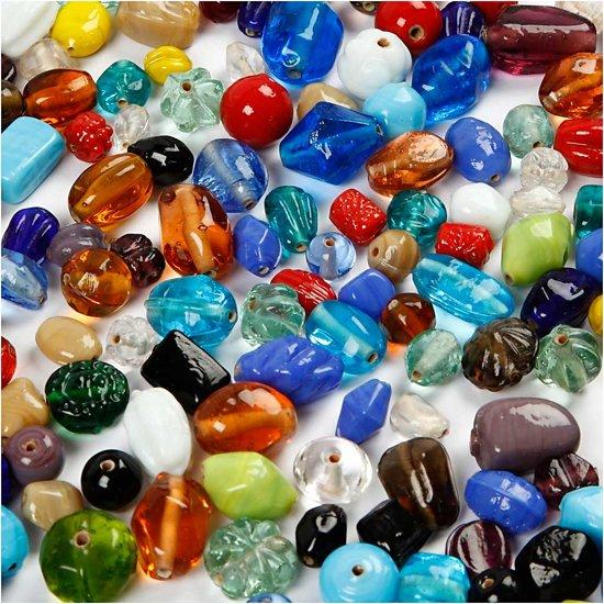 Glaskralen mix, afm 7-18 mm, kleuren assorti, 1000 gr in Topweer