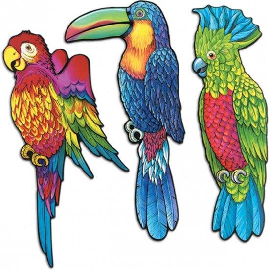 bolcom wanddecoratie tropische vogels 3 stuks speelgoed