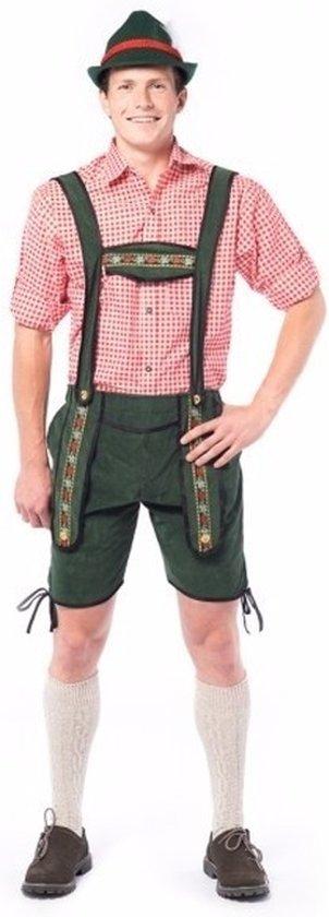 Goedkope lederhose voor mannen, type Johan. Korte lederhosen groen maat XL in Aarle-Rixtel