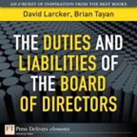 Bol com the duties and liabilities of the board of directors ebook