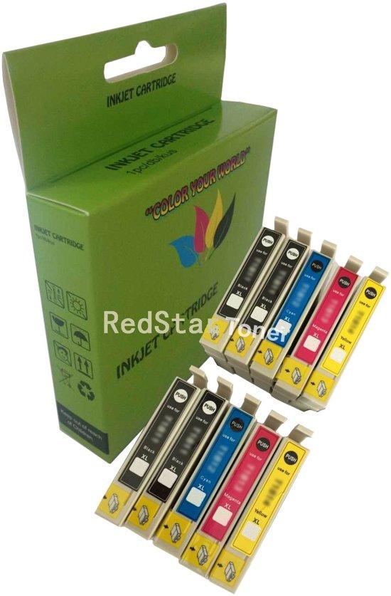 10 Pack Compatible Epson T1281/T1282/T1283/T1284 BK*4/C*2/M*2/Y*2 inktcartridges, 10 pak met chip. 4 Zwart, 2 Cyaan, 2 Magenta, 2 Geel.