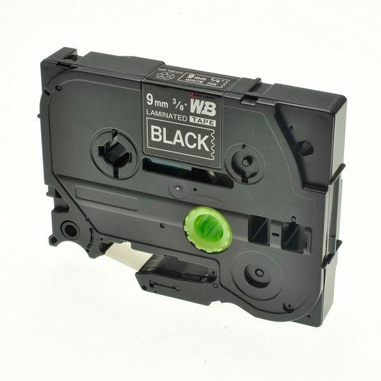 Brother labelprinter-tapes TZe-325 - 9 mm wit op zwart tape gelamineerd (huismerk)