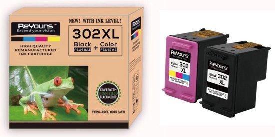 Remanufactured Inktcartridge compatible HP 302XL Zwart (20ml) en Kleur (18ml) - 1set- met chip - inktniveau weergeven