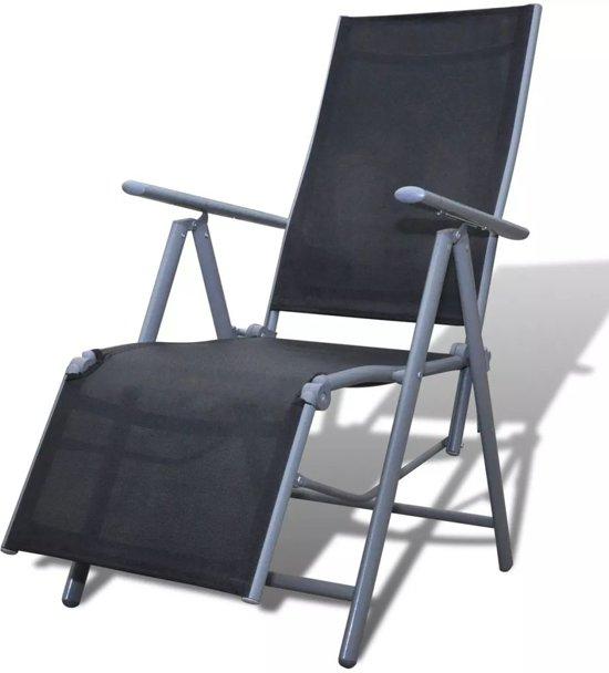 bol com   Tuinstoel ligstoel textileen en aluminium (zwart)   Tuin