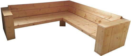 Hoekbank van steigerhout for Bouwpakket steigerhout