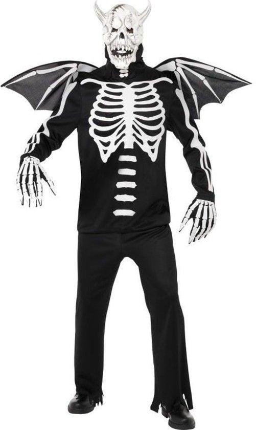Demonskelettenkostuum met vleugels en masker   Halloweenkleding heren maat M (48-50) in Achter-Lindt