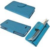 Archos 50b Neon Wallet boekcase cover hoesje Met Silicone Blauw