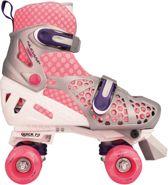 Nijdam Junior Rolschaatsen Junior Verstelbaar - Roze/Wit/Grijs - 32-35